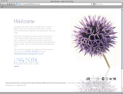 Hertfordshire chiropractor clinic Web Diffusion website design