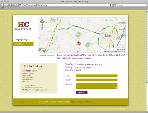 Hertfordshire cafe Web Diffusion website design